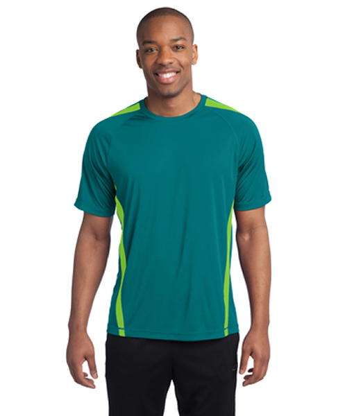 This tee is moisture-wicking, economical and colorful with colorblock panels on shoulders and sides, as well as PosiCharge technology to ensure the color and logos endure.