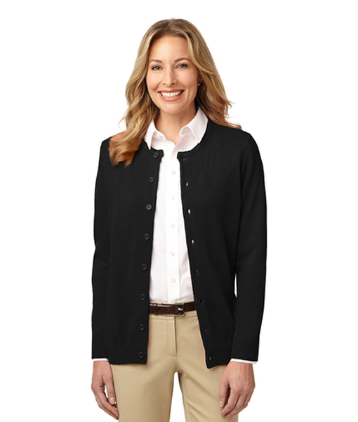 LSW304 Port Authority® Ladies Value Jewel-Neck Cardigan Sweater