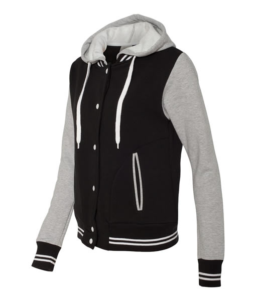 Contrast sleeves and single layer hood. Flat woven drawcord.