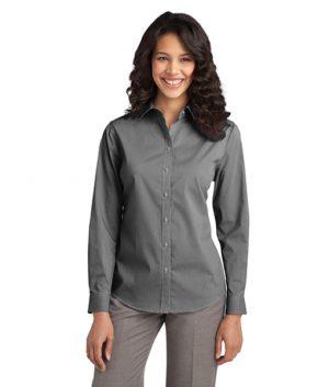 L647 Port Authority® Ladies Fine Stripe Stretch Poplin Shirt